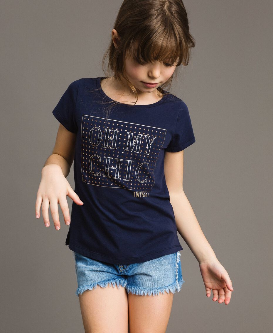 Stretch cotton T-shirt with rhinestones Indigo Child 191GJ2462-0S