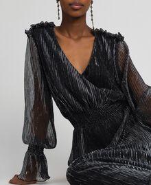 Long dress in metal creponne tulle Black / Silver Woman 192MT2141-03