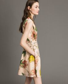 "Floral print crêpe de Chine dress All Over ""Shell"" Beige Flower Print Woman 191MT2211-02"