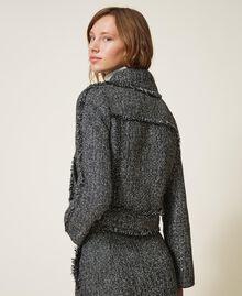 Bouclé biker jacket with sequins Black Woman 202MT218A-03