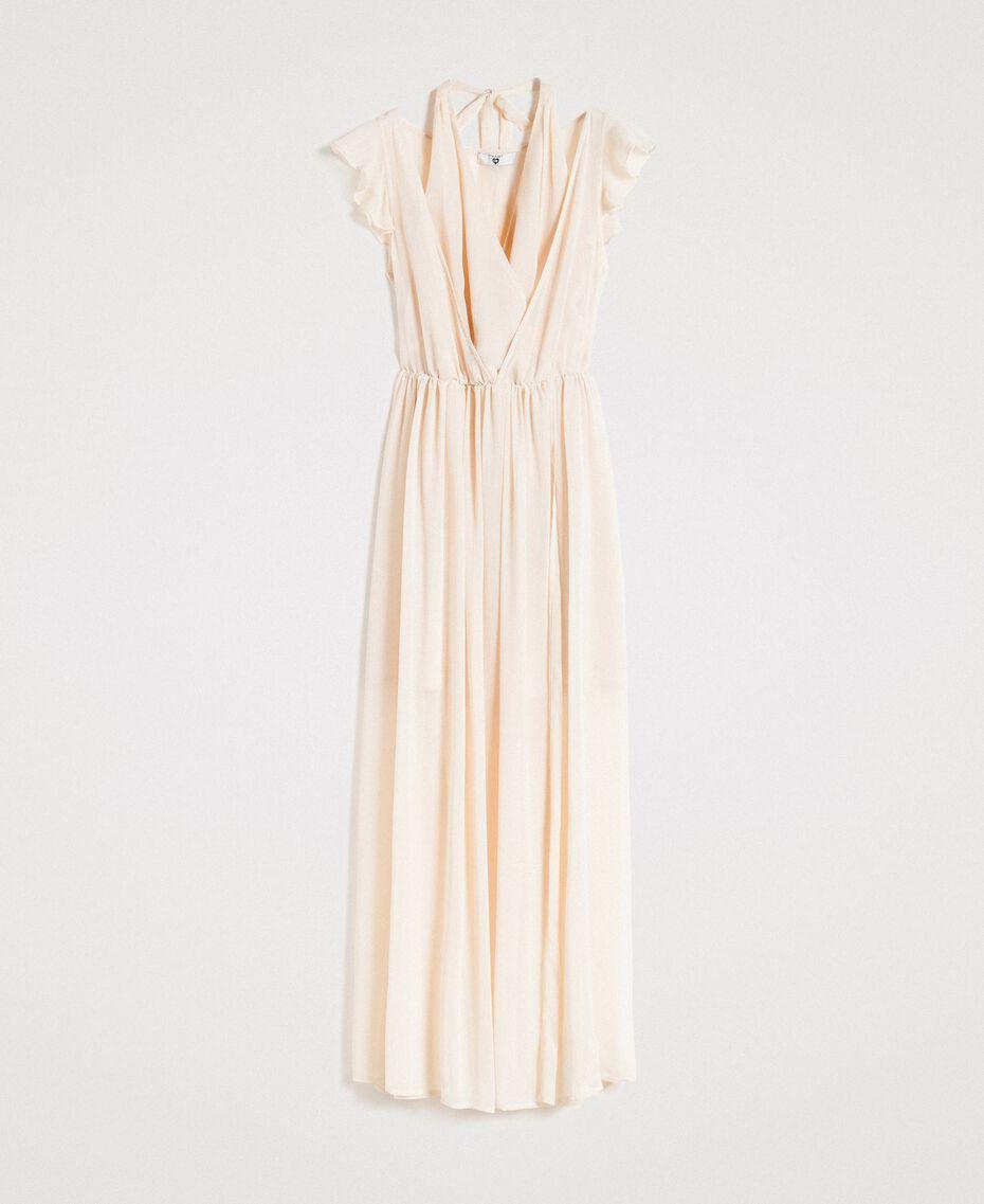 """Robe longue en crépon Beige """"Voie Lactée"""" Femme 191LB21HH-0S"""