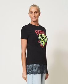 Printed T-shirt with lace Black Woman 211MT2300-04