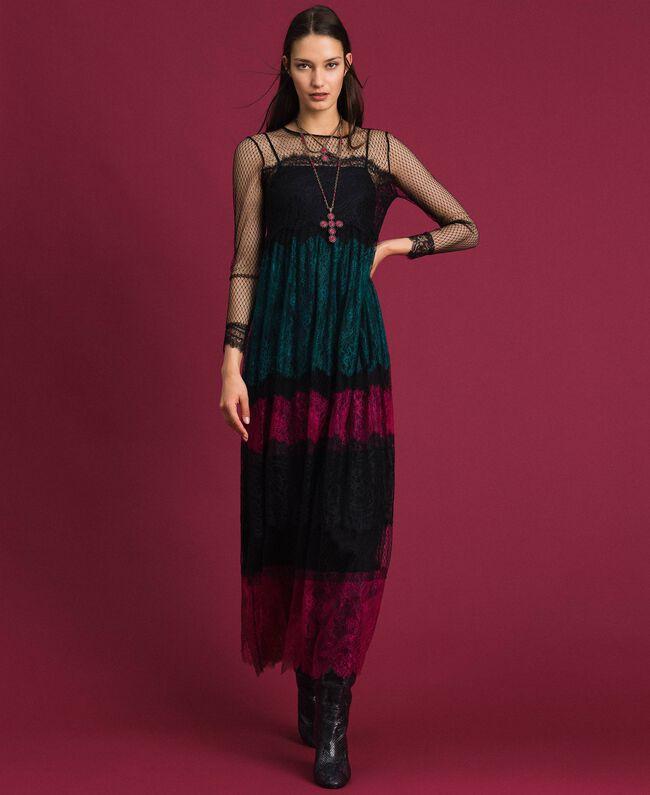 Robe longue en dentelle color block Color Block Femme 192TP2702-01