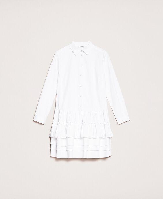 Поплиновое платье-рубашка с оборками