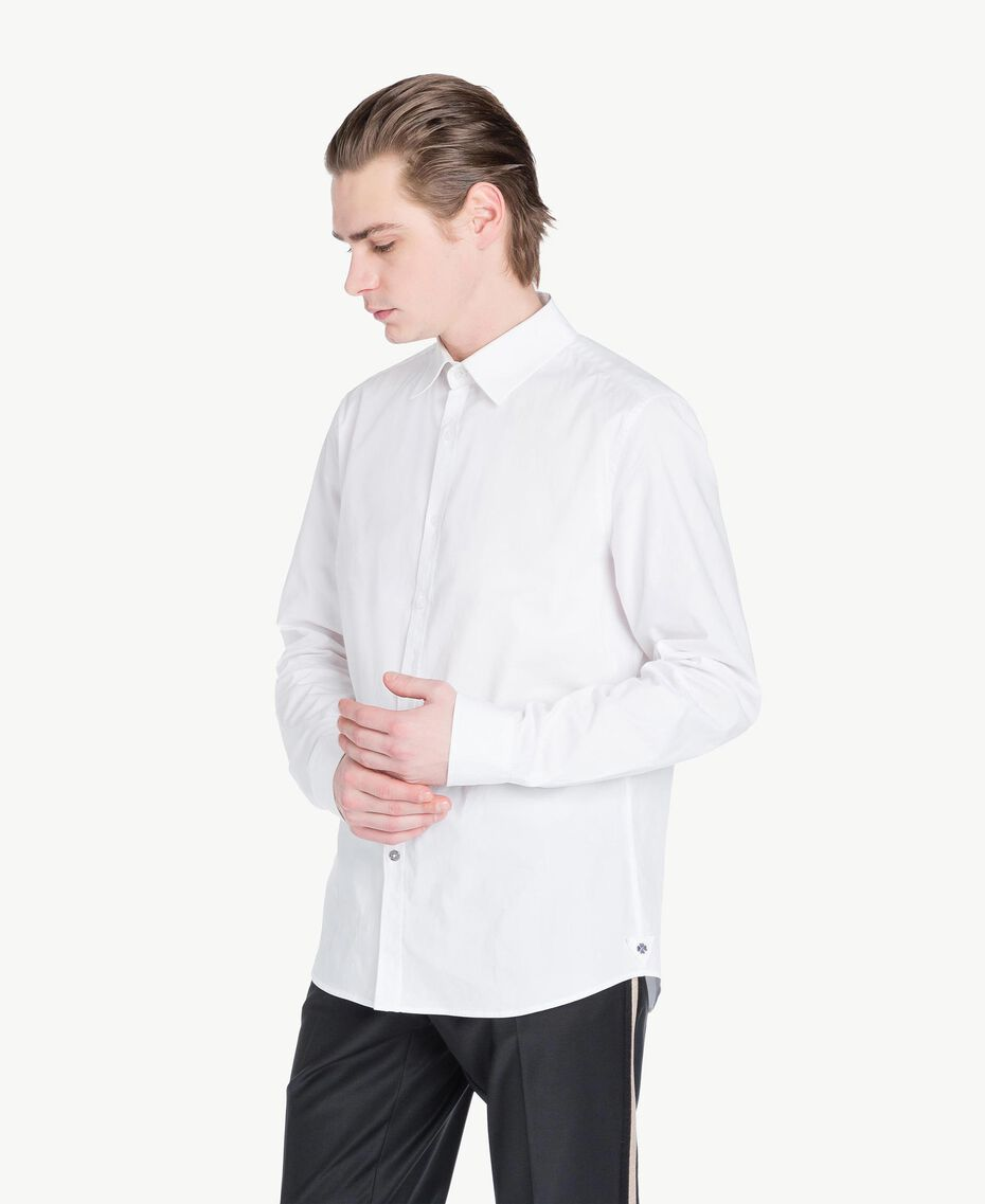 Poplin shirt Matte White Man US821B-02