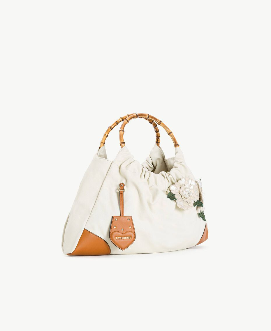 """TWINSET Canvas bag Two-tone """"Dune"""" Beige / Leather Woman OS8TAF-02"""