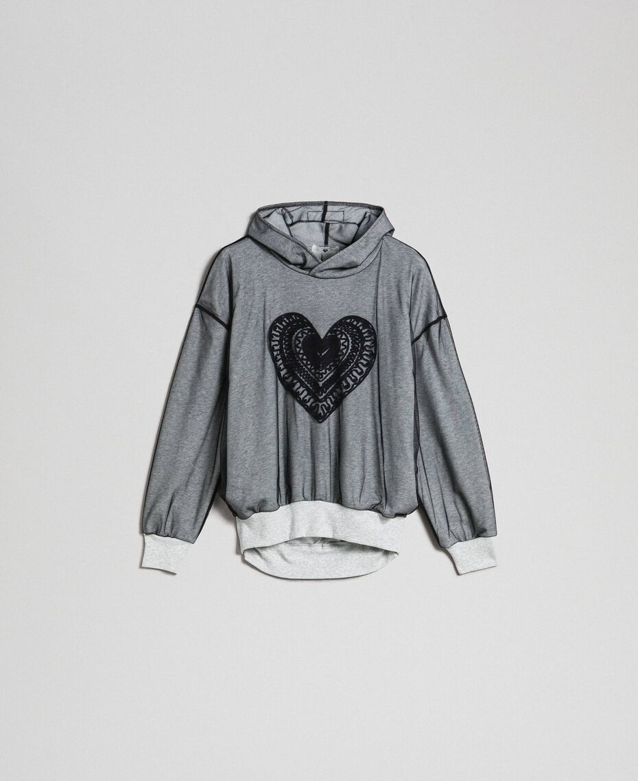 Sweatshirt aus Tüll mit Stickerei Hellgrau-Mélange Frau 192LI2TBB-0S