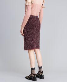 Jupe mi-longue en jacquard lurex Jacquard Bordeaux Lurex Femme PA835Q-03