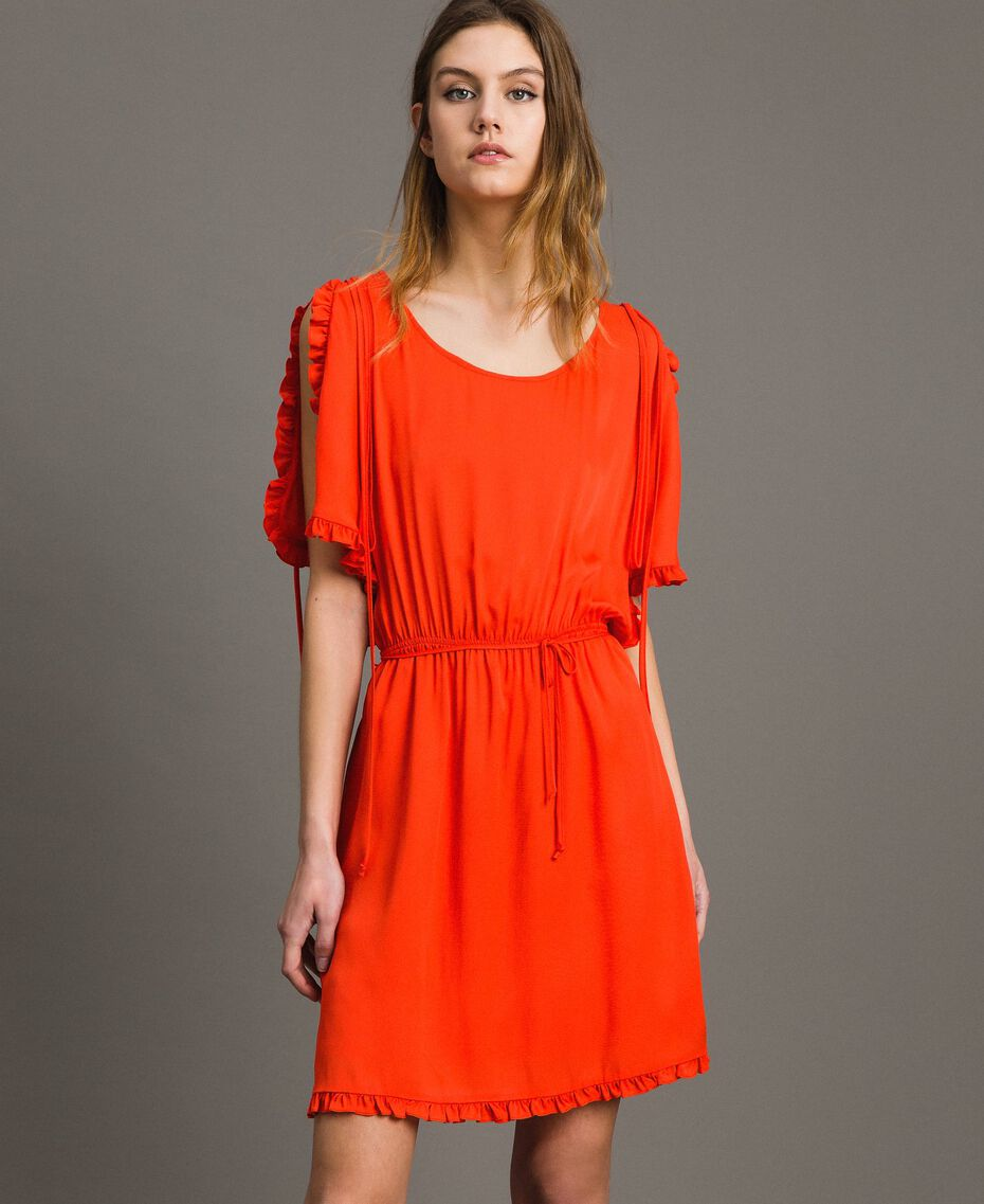 Silk blend dress with ruches Granadine Red Woman 191TT2070-01