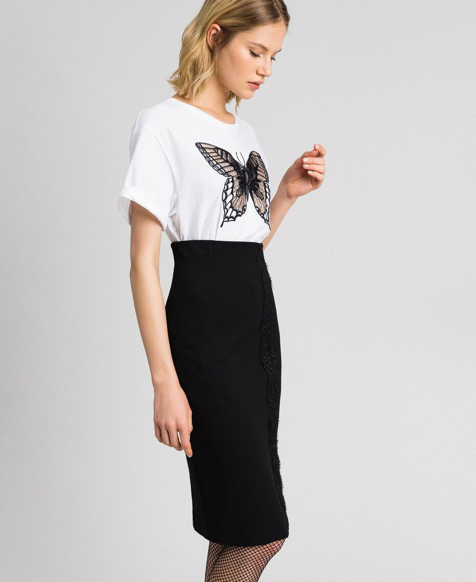 Mid-length skirt with lace Black Woman 192TP2095-02