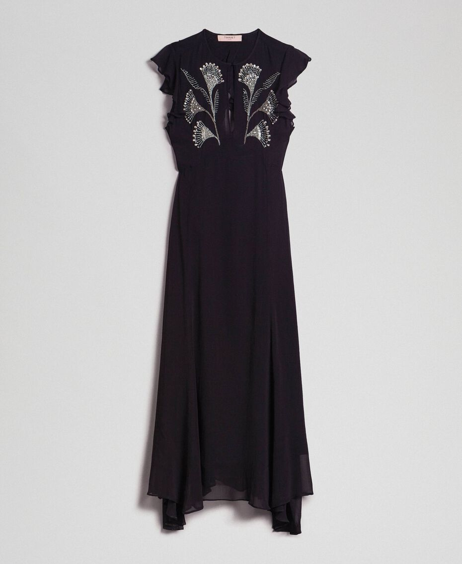 Long georgette dress with floral embroidery Black Woman 192TP2161-0S