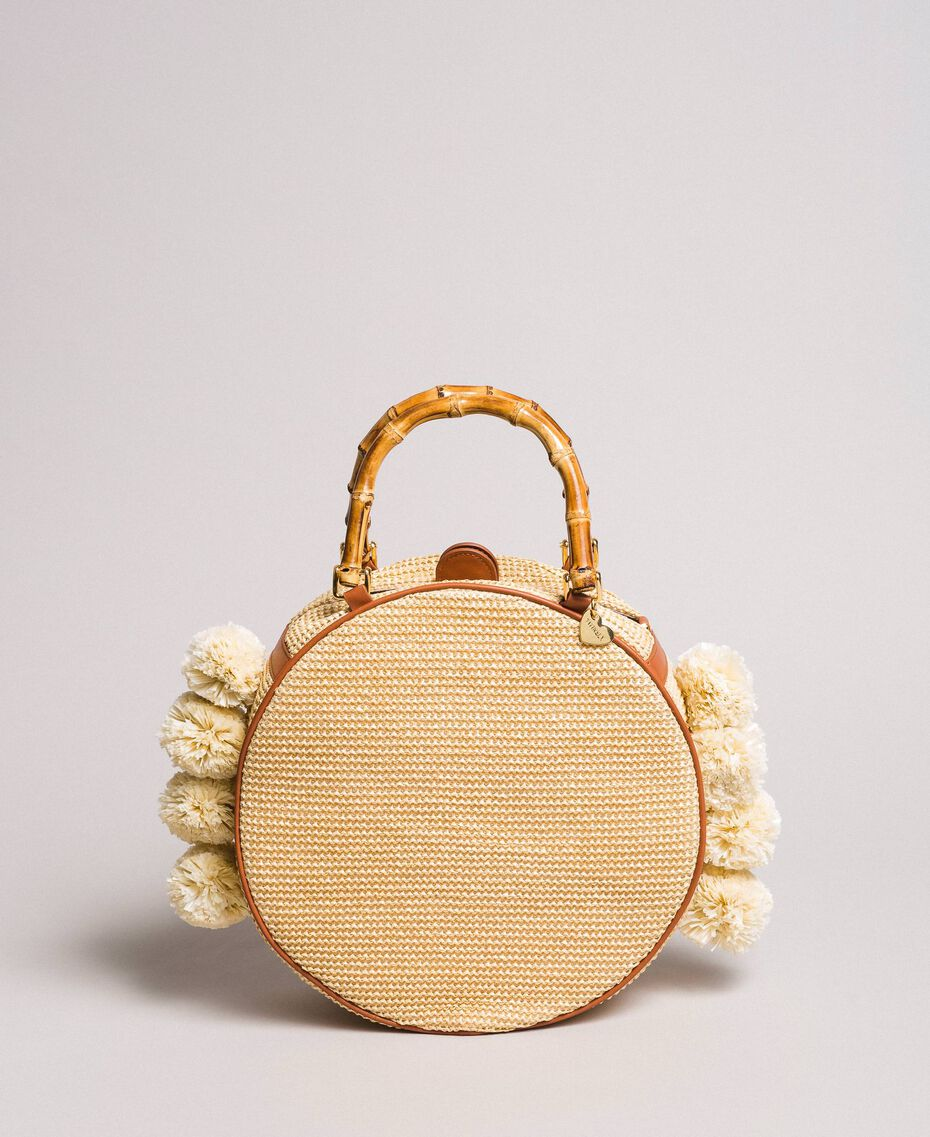 """Straw shoulder bag with pompom """"Marzipan"""" Beige Woman 191TO8272-01"""