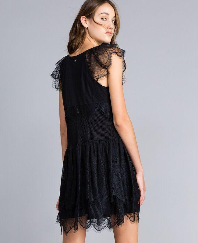 Mesh, lace and plumetis dress Black / Black Woman JA82HA-03