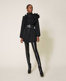 Taffeta puffer jacket with ruffles Black Woman 202ST2100-01
