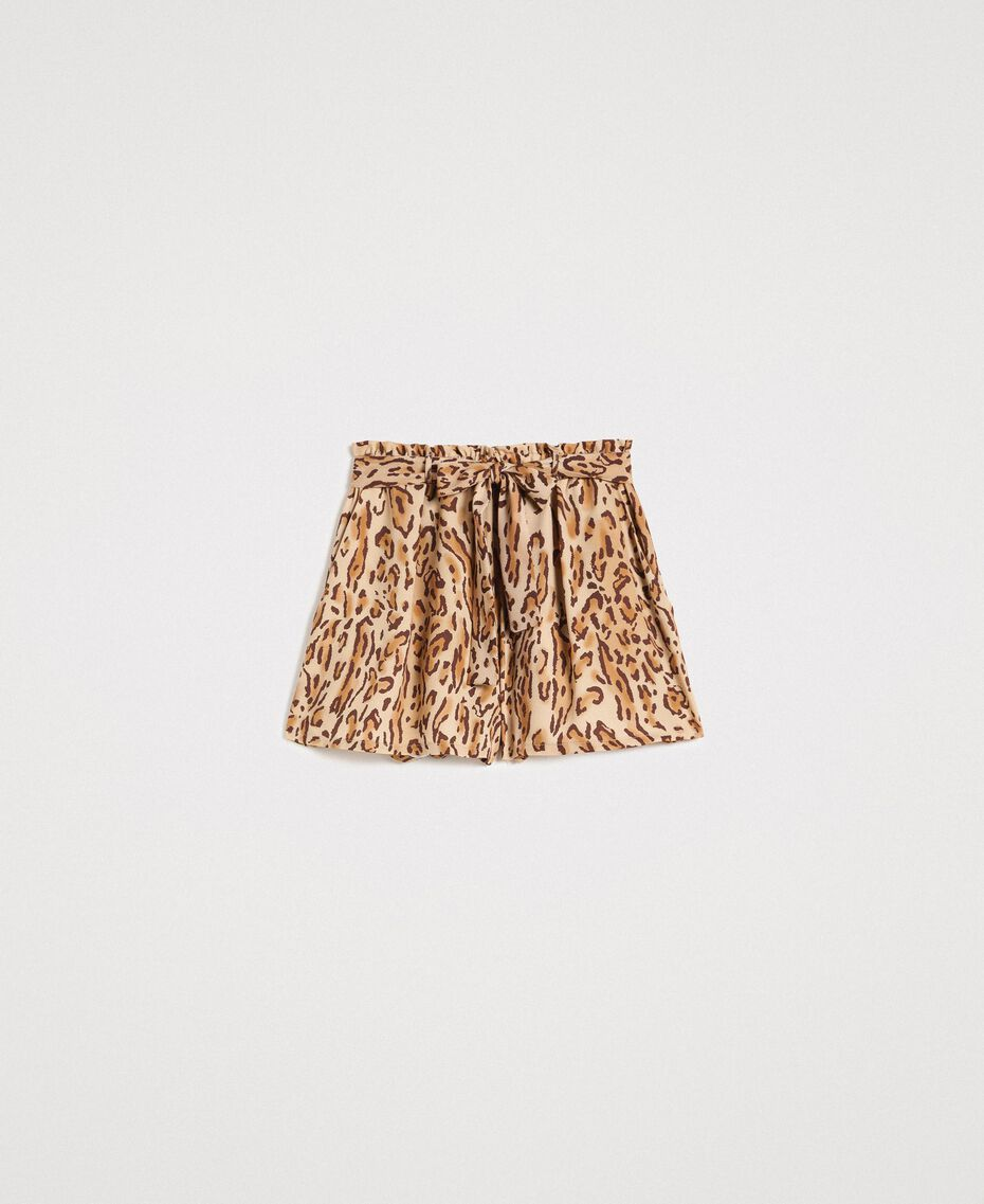 "Animal print shorts ""Petra Sandstone"" Brown Animal Print Woman 191LM2UJJ-0S"