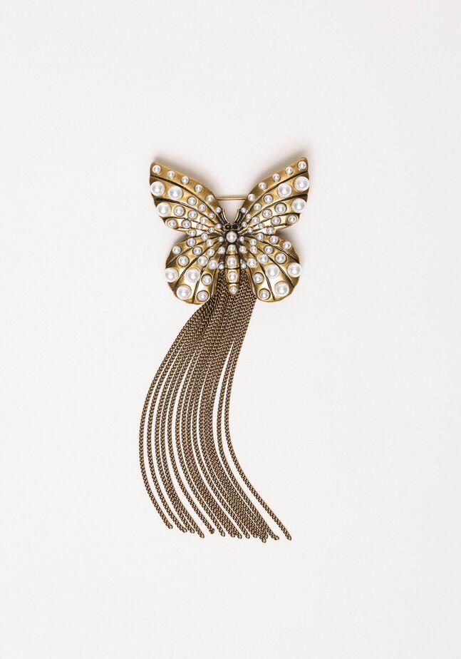 Spilla con farfalla e frange