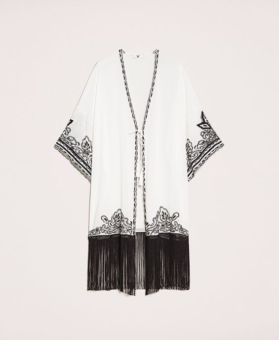 Georgette dress with embroideries and fringes