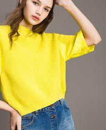 Cardigan top with poplin details Yellow Lemon Woman 191ST3060-01