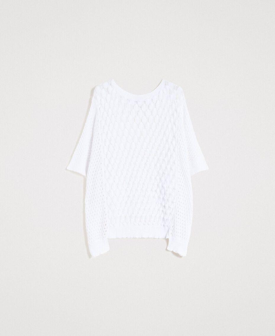 Poncho in maglia traforato Bianco Donna 191LB3GBB-0S