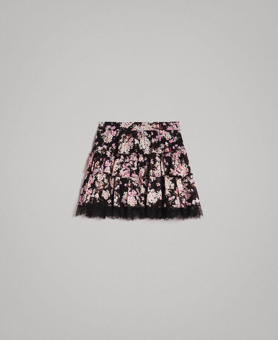 """Minijupe volantée en crêpe georgette floral Imprimé Noir Rose """"Bouquet Rose"""" Femme 191TP2714-0S"""