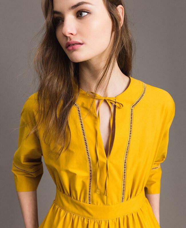 "Poplin long dress with hemstitch ""Honey Gold"" Woman 191TT2241-04"