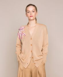 """Cardigan with floral patches and embroideries Dark """"Cremino"""" Beige Woman 201TP3171-01"""