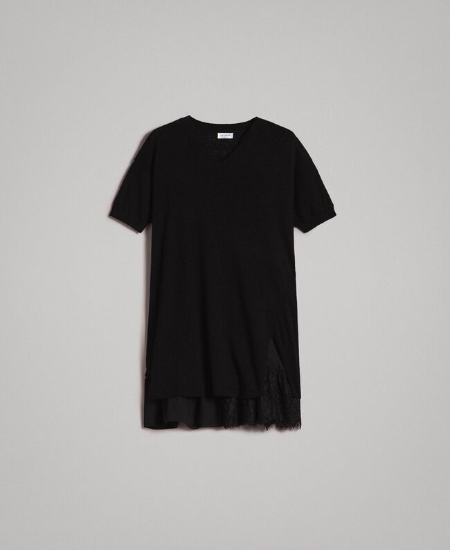 25a43d9829f Asymmetric linen blend dress Black Woman 191ST3102-0S