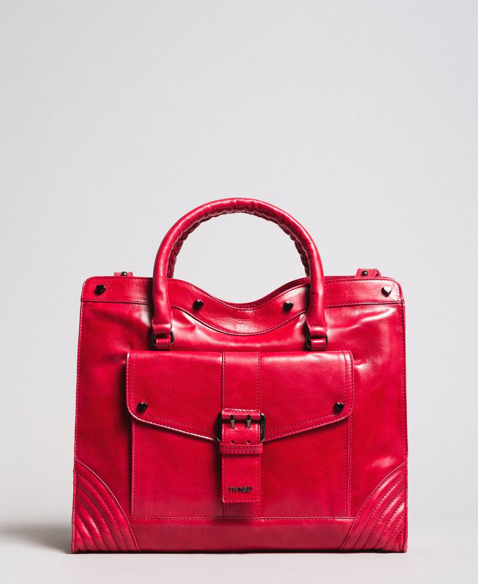 "Rebel leather shopping bag ""Ruby"" Red Woman 191TA7235-02"