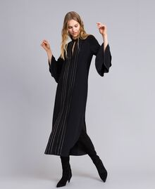 Long silk blend dress with rhinestones Black Woman TA8233-02