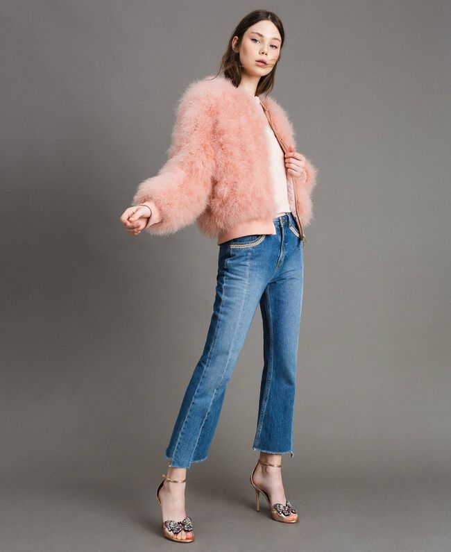 Feather bomber Pink Pearl Woman 191TP2080-01