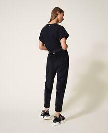 Pantalon en chenille avec strass Noir Femme 202LL2GFF-04