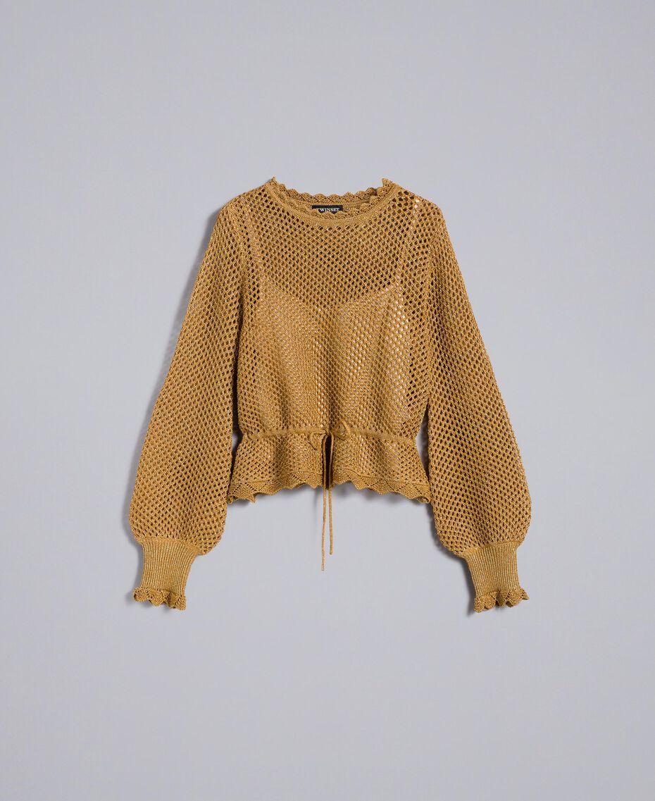Mesh lurex jumper Gold Yellow Woman TA83EB-0S