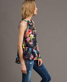 Top con stampa fiori e balza Stampa All Over Multicolor Flowers Nero Donna 191MT2292-03