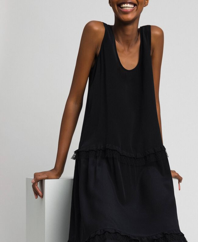 Long dress in silk blend crêpe de Chine Black Woman 192TP2361-04