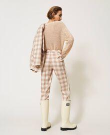 Pantalon cigarette en tissu à carreaux Prince-de-Galles Carreaux Blanc Crème / Beige «Dune» Femme 202MP228B-04