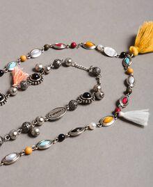 Collier à chaînes multiples avec pendentifs et pompons Multicolore Pierres Femme 191TO534F-02