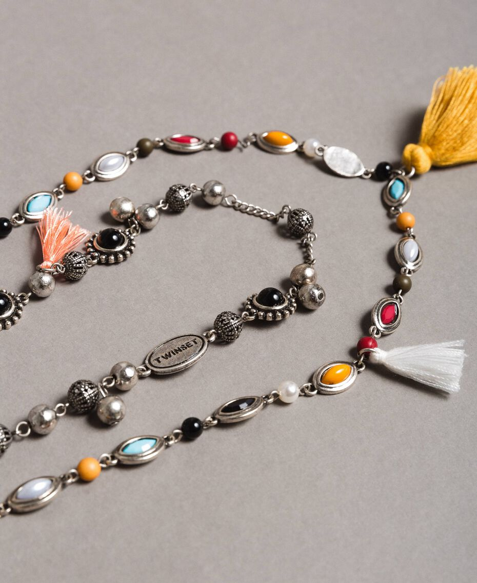 Multi-string necklace with charms and tassels Multicolour Stones Woman 191TO534F-02