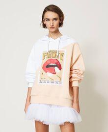 Maxisudadera color block con estampado Bicolor Blanco «Óptico» / Rosa «Light Apricot» Mujer 211MT2450-02