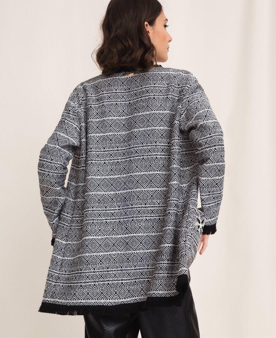 Длинный твидовый жакет с вышивкой Черный женщина 201LB23BB-02