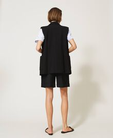 Oversize waistcoat with pockets Black Woman 211MT2360-05