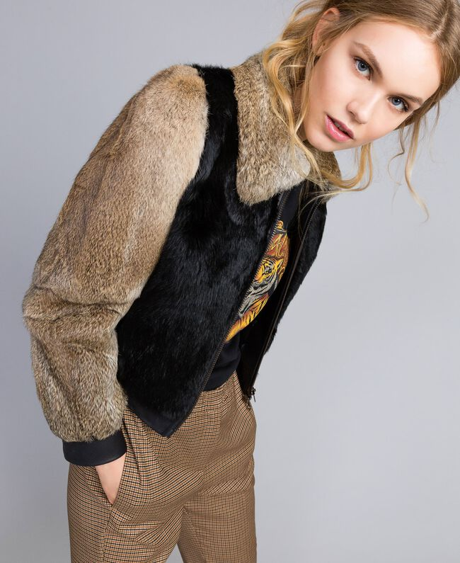 Zweifarbige Jacke aus Leder und Fell Schwarz Frau TA82AC-01