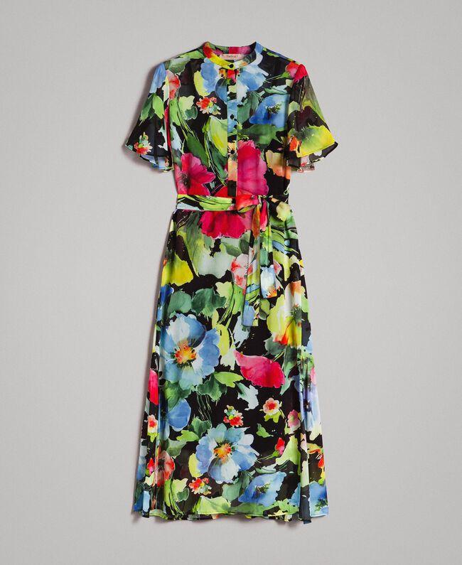 Georgette-Maxikleid mit Blumenmuster Motiv Schwarze Macro Blumen Frau 191TT2481-0S