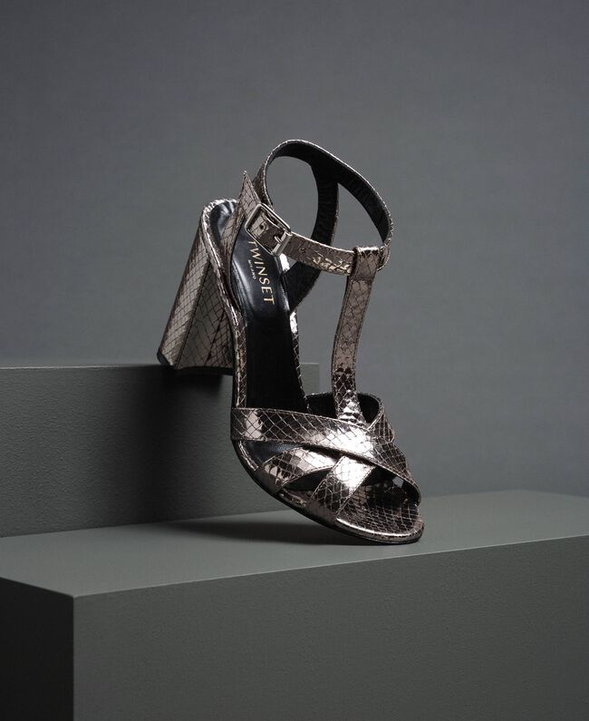 Laminated leather T-bar sandals Laminated Silver Python Woman 192TCP12J-01