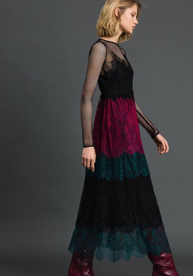 Slip dress with colour block lace