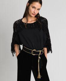 Ceinture taille haute effet cuir velours Noir Femme 192TO5341-0S