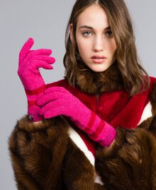 "Two-tone striped gloves Bicolour ""Poppy"" Red / ""Cerise"" Fuchsia Woman RA8T2L-0S"
