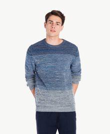 Pullover aus Wolle Dégradé-Blau UA73B1-01