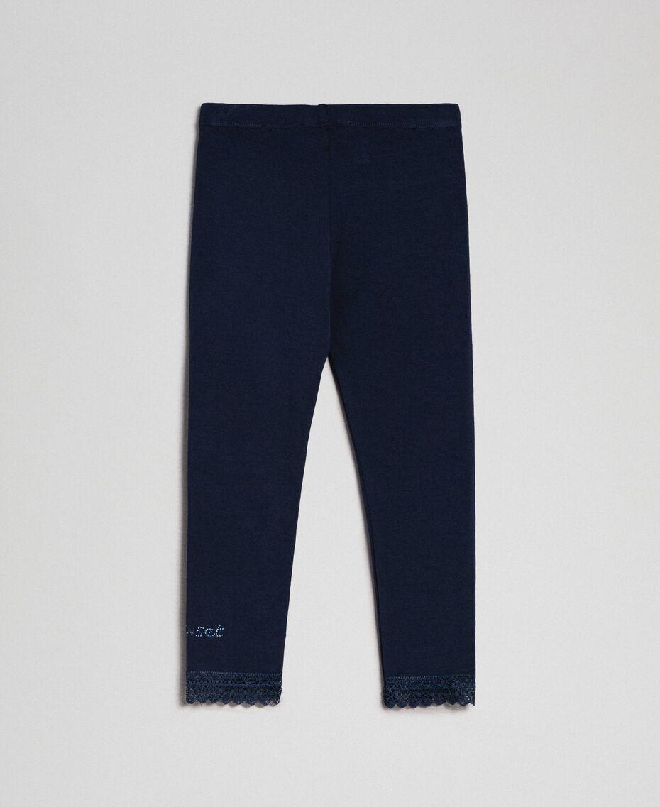 Legging avec dentelle et logo strassé Blue Night Enfant FCN2D3-0S