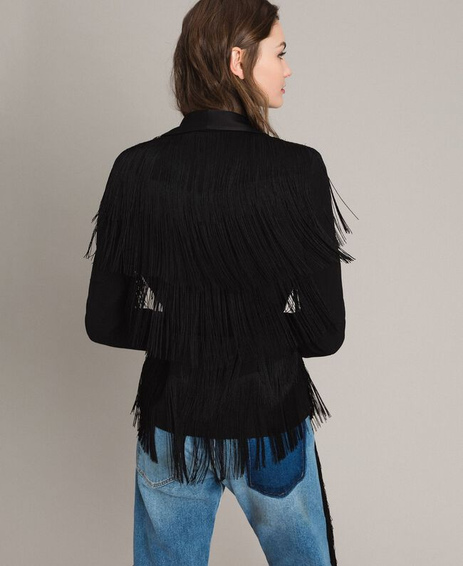 Blazer with fringes Black Woman 191TT2380-04