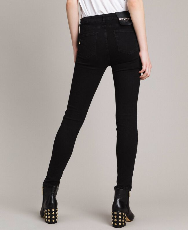 Skinny jeans with tulle patches and embroideries Black Denim Woman 191MP2422-03